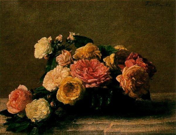 Rosas en un recipiente, Fantin-Latour